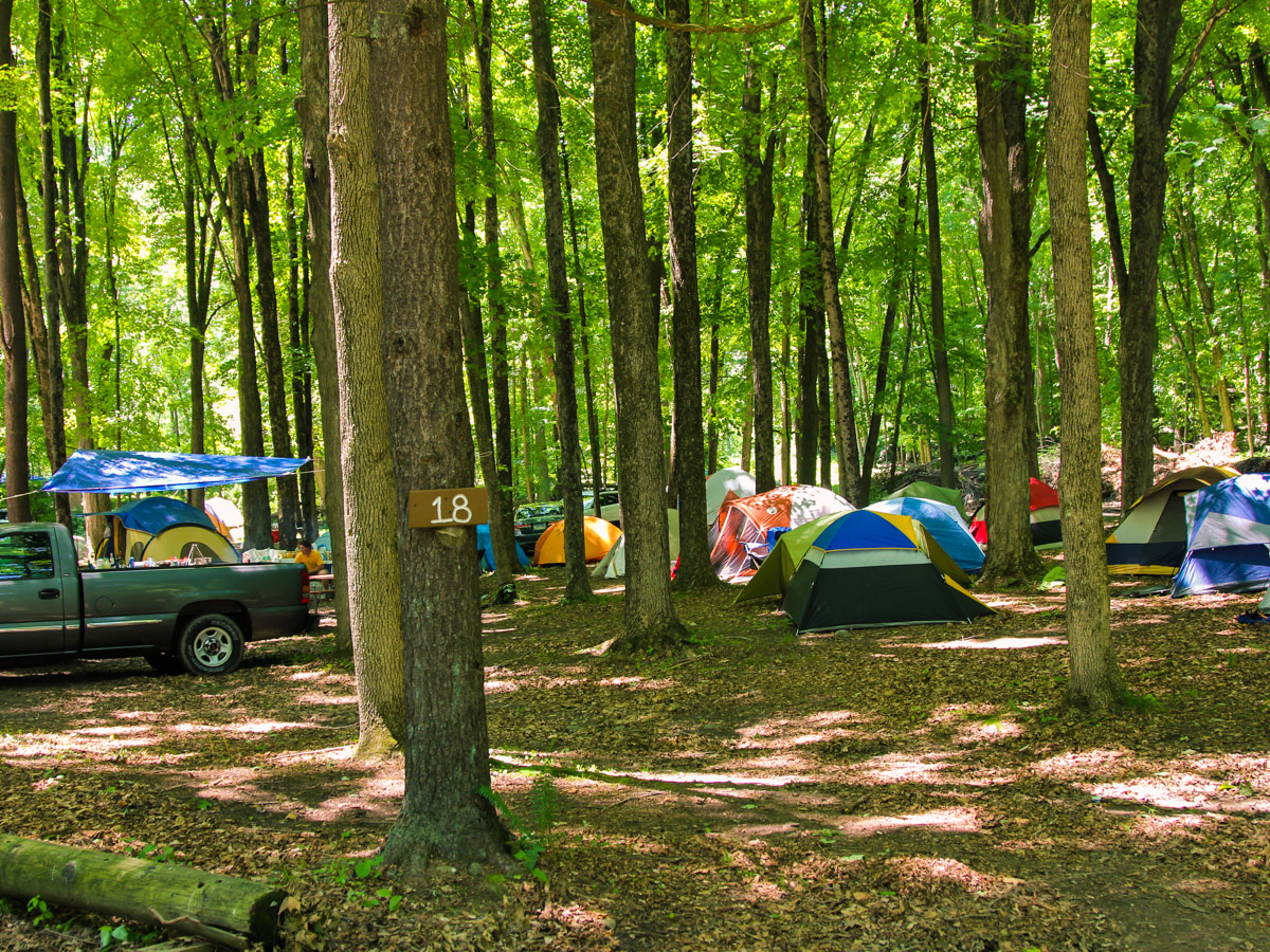 Several tents set up among the trees Indian Head Canoeing Rafting Kayaking Tubing Delaware River