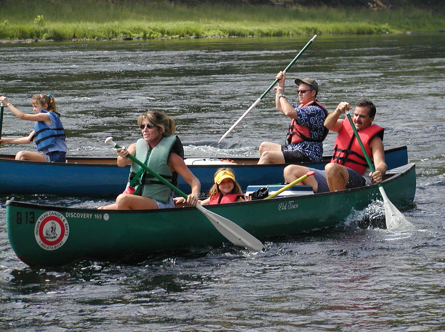 two families on their canoe ride Indian Head Canoeing Rafting Kayaking Tubing Delaware River