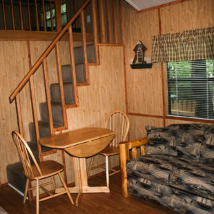 inside of cabin living area and stairs to loft Indian Head Canoeing Rafting Kayaking Tubing Delaware River
