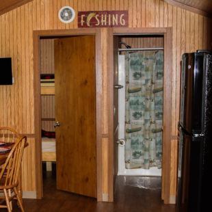 inside cabin showing bathroom, bedroom and kitchen area Indian Head Canoeing Rafting Kayaking Tubing Delaware River