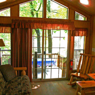 living room in deluxe cabin Indian Head Canoeing Rafting Kayaking Tubing Delaware River