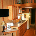 kitchenette in deluxe cabin with loft Indian Head Canoeing Rafting Kayaking Tubing Delaware River