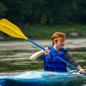 man with bandana in kayak Indian Head Canoeing Rafting Kayaking Tubing Delaware River
