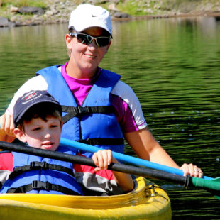 mom and son in kayak on sunny day Indian Head Canoeing Rafting Kayaking Tubing Delaware River