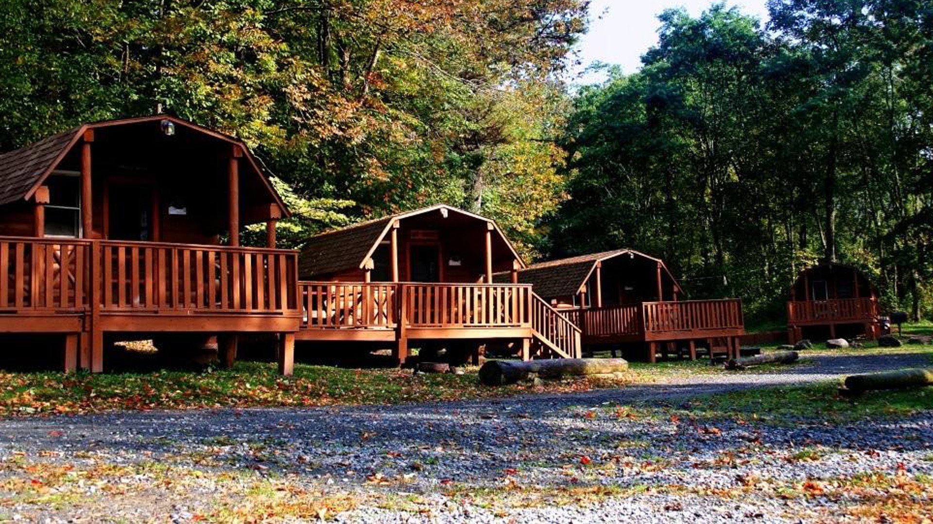 view of four cabin vacation rentals Delaware River