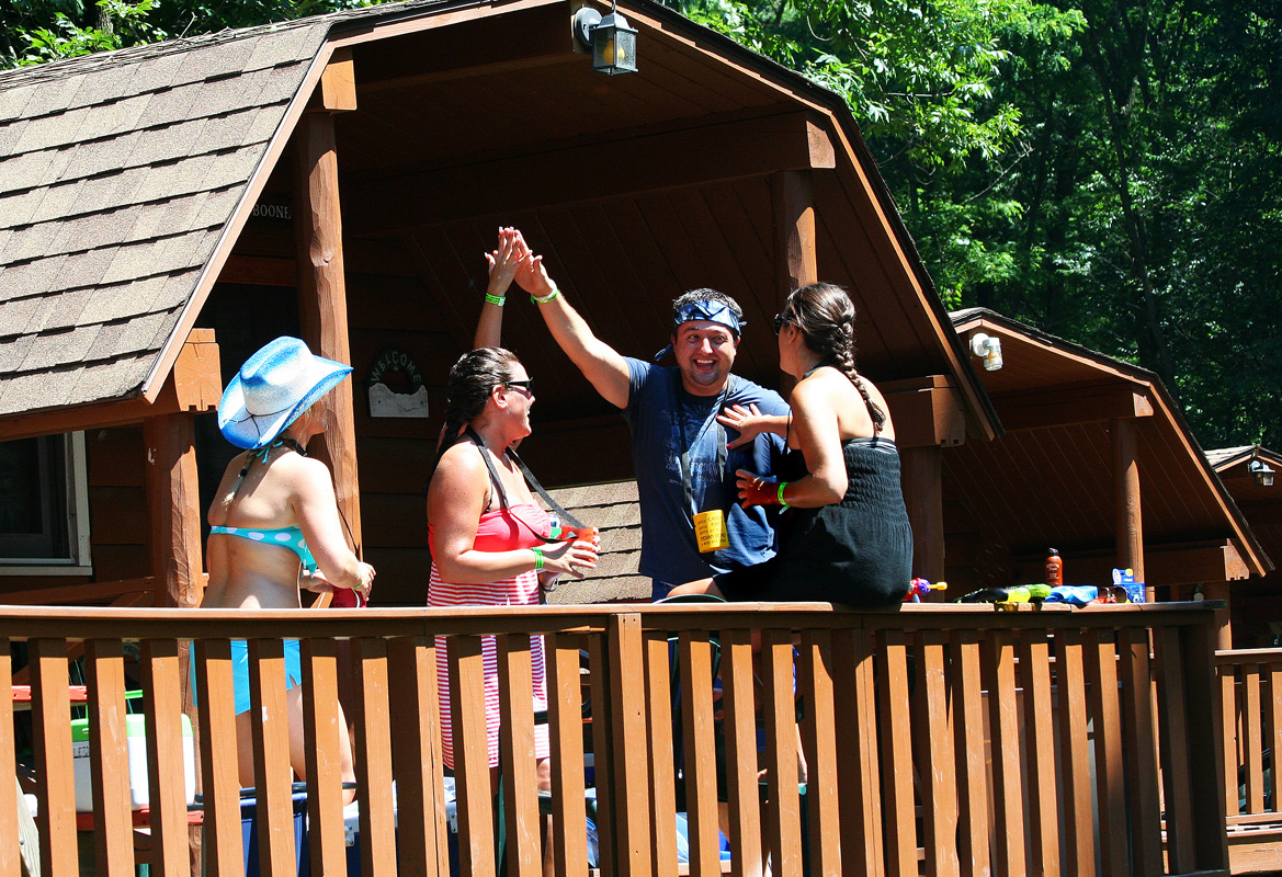 friends enjoying deck on cabin Indian Head Canoeing Rafting Kayaking Tubing Delaware River