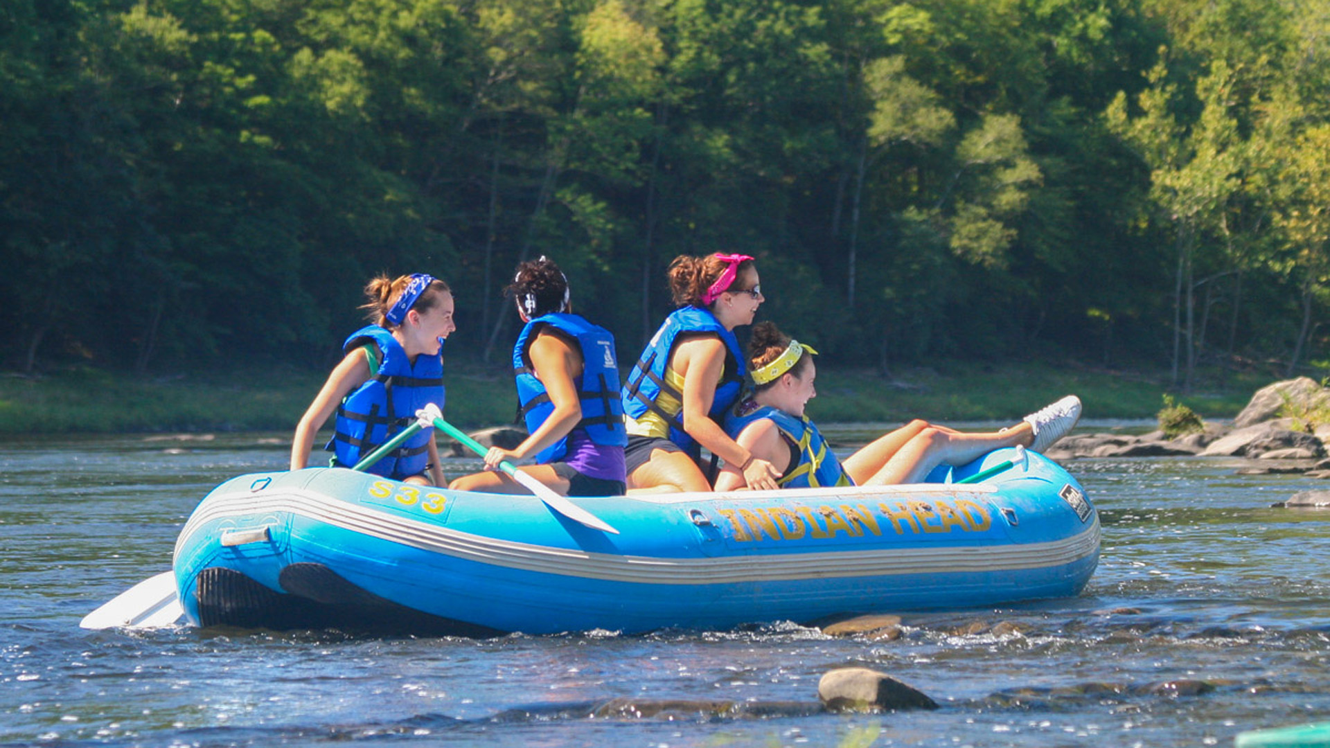 having fun during calm water raft adventure Indian Head Canoeing Rafting Kayaking Tubing Delaware River