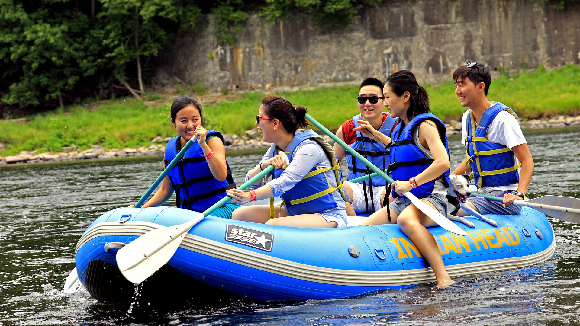 group of friends and their dog planning their trip down the Delaware River Indian Head Canoeing Rafting Kayaking Tubing Delaware River