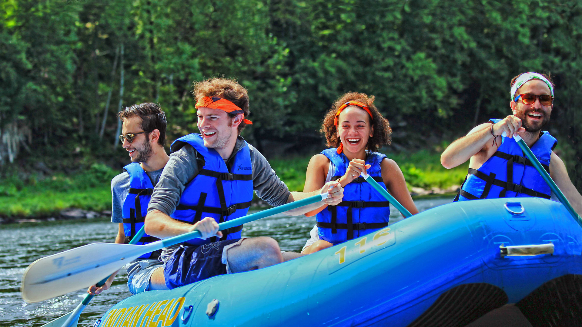 group of 4 friends on raft Indian Head Canoeing Rafting Kayaking Tubing Delaware River