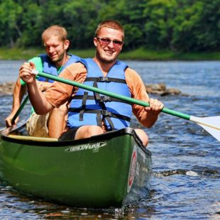 two men in canoe Indian Head Canoeing Rafting Kayaking Tubing Delaware River