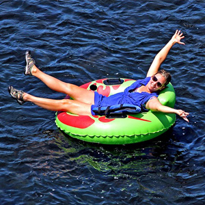 woman enjoying sun on her tube on the river Indian Head Canoeing Rafting Kayaking Tubing Delaware River